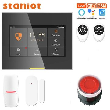 Staniot H501-2G Tuya Wireless Wifi Smart Home Security Burglar Alarm System Kits Compatible with Alexa Support IOS & Android APP