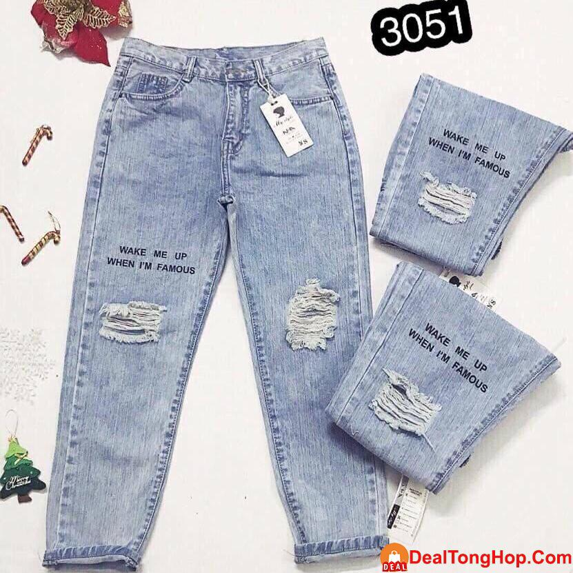 Quần Jeans Nữ Dạng Baggy Cao Cấp OHS3051 Hot Hit Mùa World Cup 2018